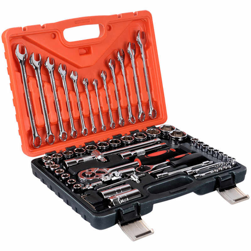 "61Pcs Torque Wrench Tool Set  Ratchet Wrench Spanners llave carraca 1/4"" Tool Kits for Car Hand Tool Socket Wrench A Set of Keys"