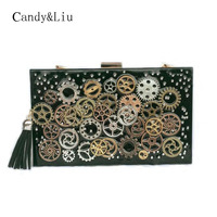 Mini Bag Personality Punk Fashion Mechanical Wheel Bag New Arrival Banquet Rectangle Acrylic Bag