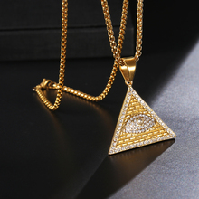 HIP Hop Bling Iced Out Masonic Illuminati Eye Pendants Gold Color Triangle Stainless Steel Pyramid Necklaces for Men Jewelry светильник illuminati terrene md13003023 7a gold