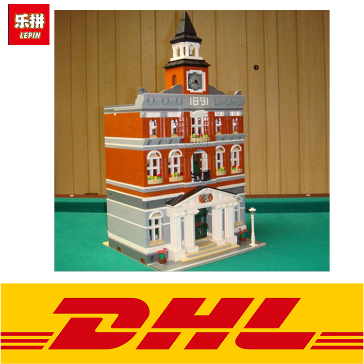 LEPIN 15003 2859Pcs  The Town Hall Model Building  Blocks Bricks kits Toys for children Gifts Compatible 10224 lepin 15003 2859pcs city creator town hall sets model building kits set blocks toys for children compatible with 10024