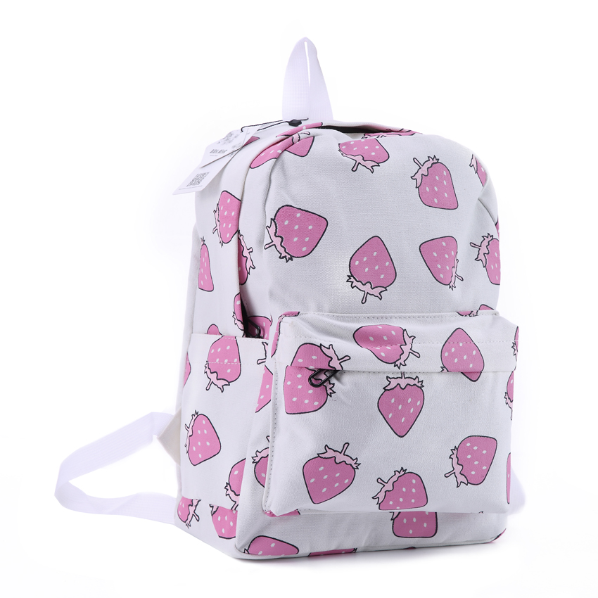 DIDA BEAR Women Canvas Backpacks Fruit Strawberry Printing Large School bags For Girls Bag Rucksack Bolsas