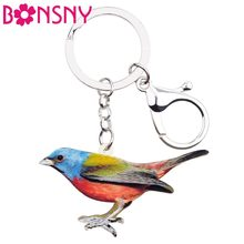 Bonsny Statement Cartoon Floral Bird Key Chains Keychains Holders Pendant Unique Animal Jewelry For Women Girls Bag Charms Gift(China)