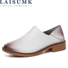 LAISUMK Flats Genuine Leather Shoes Woman Slip On Loafers 2019 Spring Women Casual Shoes Autumn Brand Ladies Shoes Sneakers brand fashion women sneakers genuine leather platform casual shoes woman new spring autumn flats breathable sports shoes