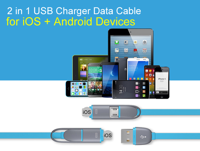 Colorful Micro USB Cable 8Pin 2 in 1 Sync Data Charger USB Cable for iPhone 5 6 6S Plus Fast Charger Cable For Samsung S4 S5 S6
