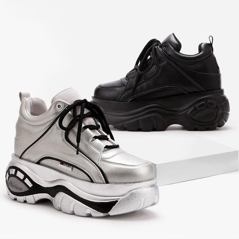 Cm Muffin Chaussures Sneakers Femmes Fond argent Automne 7 Sport Noir Talons De Dames Épais Avec Loisirs Hauts Lq354jAR