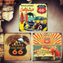 Route 66 Vintage Metal Tin Signs Car Decorative Plates Garage Service Wall Stickers California Poster Home Decor Plaque MN80