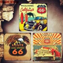 Route 66 carteles de hojalata Vintage coche decorativo placa garaje servicio pegatinas de pared cartel de California Placa de decoración del hogar MN80