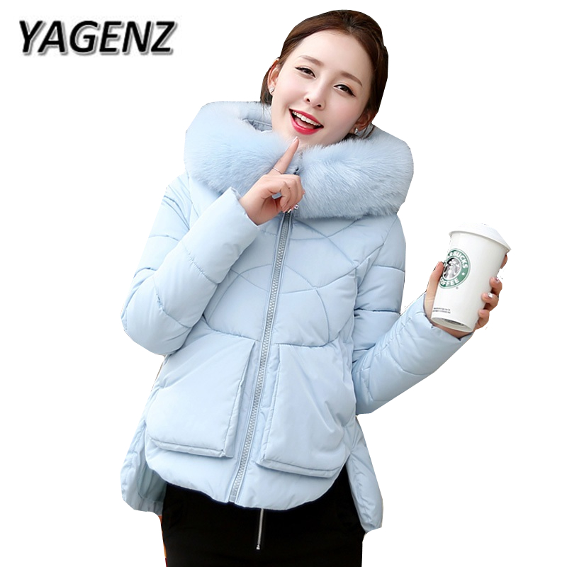2017 Winter New Fur Collar Short Jacket Women Warm Coat Parkas Thick Lady cotton Down Outerwear Plus size Students Hooded Jacket women winter coat leisure big yards hooded fur collar jacket thick warm cotton parkas new style female students overcoat ok238