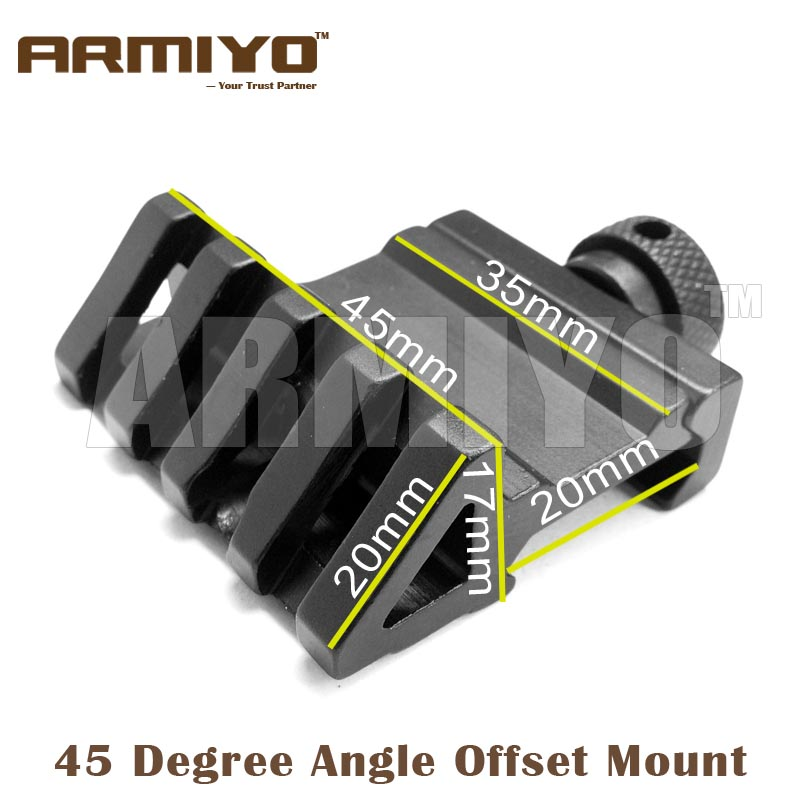 Armiyo 4 Slot 45 Degree Angle Offset Fit 20mm Rail Mount Rack Adapter Clip Gun Laser Scope Hunting Shooting Accessories