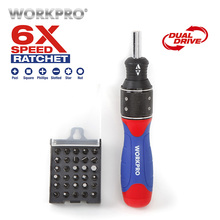 Free Shipping WORKPRO 32PC 6x-Speed Dual-Drive Ratchet Screwdriver Bits Set Home Repair Tool
