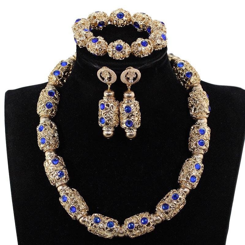 Dubai or bijoux ensembles pour femmes 2019 cadeau de mariée mariage nigérian perles africaines bijoux ensemble pendentif collier ANJ608