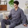 Мужская с длинным рукавом пижамы Утолщенной хлопок ночную рубашку Кардиган Весной и Осенью пижамы Комплект Мужские пижамы