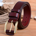 Men 3 colors New Leisure Business Genuine Leather jeans Leather belt male fashion Pure copper buckle Pure leather Waistband F073