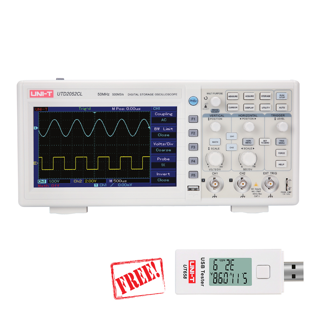 UNI-T UTD2052CL oscilloscope 50MHz 500Ms/s USB Digital Storage Oscilloscope DSO 2 Channels USB Tester Free цена
