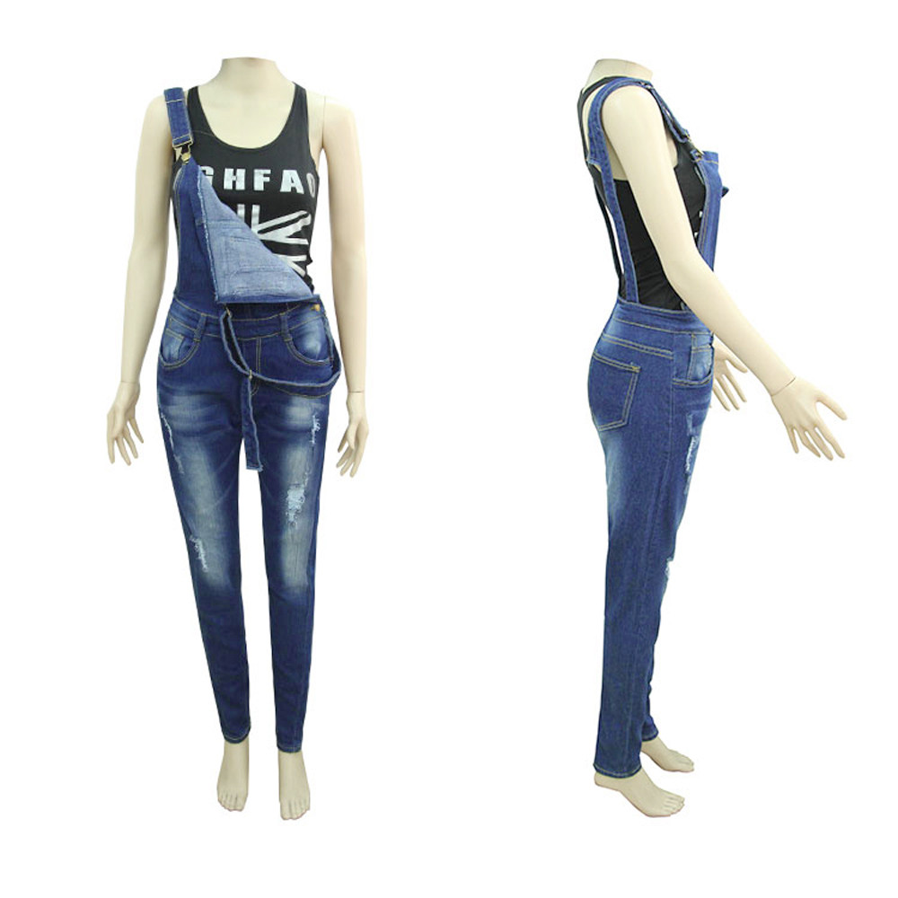 Compre Feitong Jumpsuit Denim Overol Mujer 2018 Jeans Strap Hole ... 136713781583