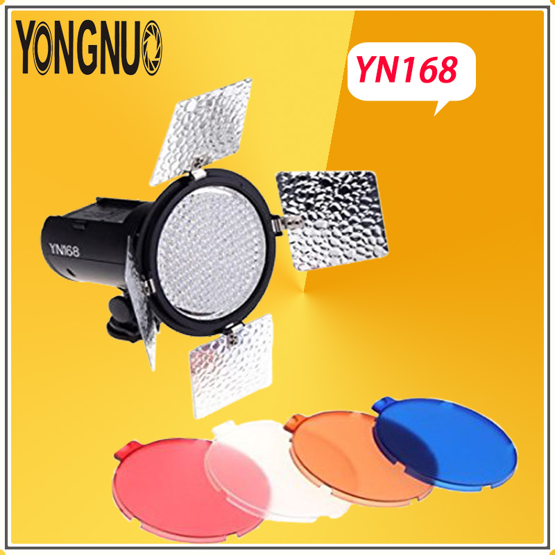 YONGNUO YN168 LED video studio light Camera video shoot with 4 color plate For Canon Nikon DSLR Camcorder Photography Lighting 2018 yongnuo yn320 photo studio led panel video light with stand holder high brightness video light for canon nikon dslr camera