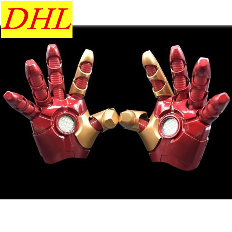 Avengers Iron Man Gloves 1:1 Full Scale Tony Stark. Wearable Electric Palm With LED Light Finger Induction Phonate L505 iron man 3 tony stark mk4 mk42 mk6 light