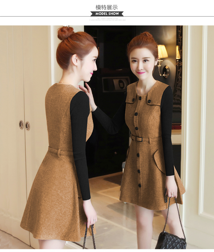 winter new round collar single-breasted cloth dress belt buttons A word women dresses Korean fashion outfit lady vogue vestido 23
