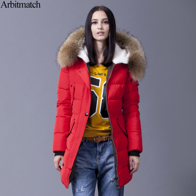 Arbitmatch Down Jacket Winter Jacket Women Natural Large Racoon Fur Collar Hooded Warm Thick Outwear Female 90% Duck Down Coat