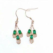 SHILOVEM 925 sterling silver Natural green Emerald drop earring fine Jewelry women wedding new wholesale 3*5mm yhe030502agml