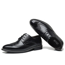 QFFAZ Black Yellow Brown Blue Men Leather Dress Shoes Business Formal Men Office Lace-up Oxford Shoes Form Men Plus Size 38-48