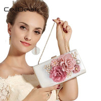 CellDeal High Quality Patent Leather Handbag Satin Flower Evening Bags Elegant Women S Party Clutch Wedding