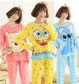 2017 Novas Mulheres de Boa Qualidade Ternos Pijamas Feminino Primavera Outono Dos Desenhos Animados da Longo-luva de Seda Leite Calças de Pijama treino AA0001