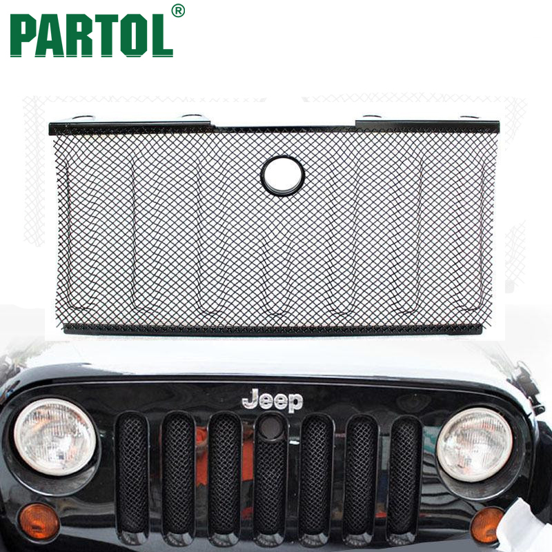 Partol 3D Mesh Grille Insert With Engineer Cover Lock Hole  Stainless Steel For Jeep Wrangler JK  2008 2009 2010 2012 2015 for wrangler rubicon sahara jk 2007 2016 car styling auto metal 3d mesh grill insert cover hood with lock hole car accessorie