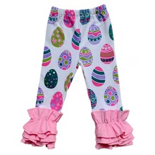 7032a4842f12ca Spring easter baby organic icing legging wholesale children's boutique  clothing floral print girls ruffle pants for
