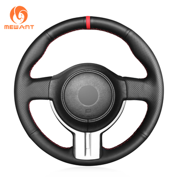 MEWANT Black Genuine Leather Comfortable Car Steering Wheel Cover for Toyota 86 2012-2015 Subaru BRZ 2012-2015 Scion FRS