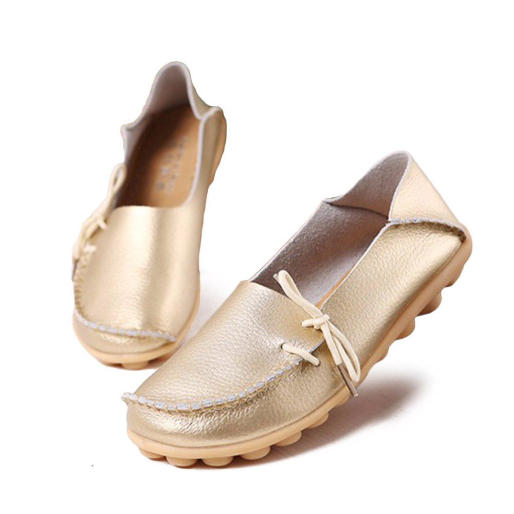 Ladies Leisure Flats Shoes Women Genuine Leather Shoes Moccasins Mother Loafers Casual Shoes Soft Driving Ballet Footwear Big 44