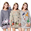 50 Colors 2014 New Winter Casual Big Plus Size Tops For Women Caroon Print Woman Long