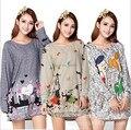 50 Cores! 2016 Novo Inverno Casuais Grande Plus Size Tops para As Mulheres Caroon Imprimir Mulher Camisa Senhora Blusa Túnica Longa Fit: 3 XXXL, 4XL, 5XL