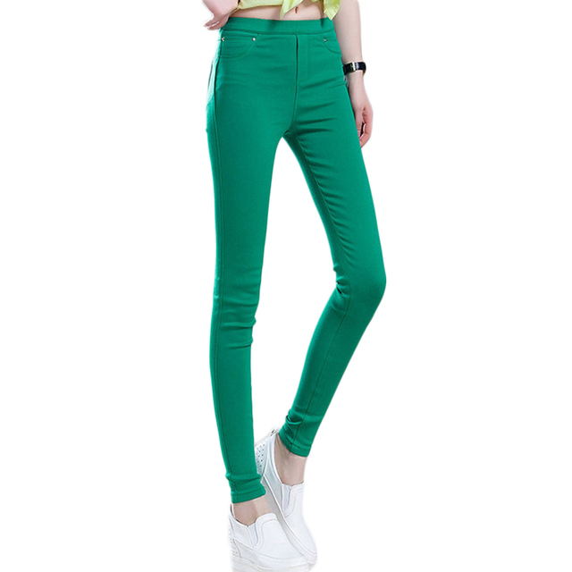f18dbd031a Color caramelo Elástico de Cintura Alta Pantalones Lápiz Estiramiento  Pantalones Casuales Mujeres del Resorte Pantalones Skinny