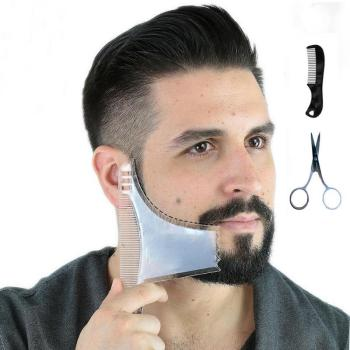 Transparent Beard Comb+Comb+Beard Scissors Suit Beard Grooming Shaping Kit 1