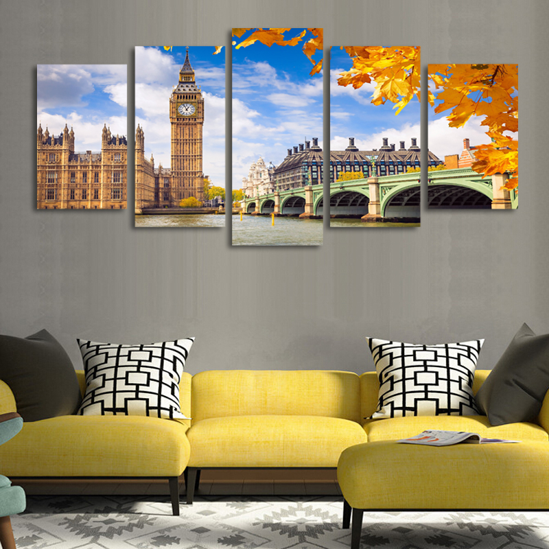 2017 Promotion Paintings 5 Pcs(no Frame) London Landscape Picture Print Painting On Canvas Wall Art For Home Decor Living Room