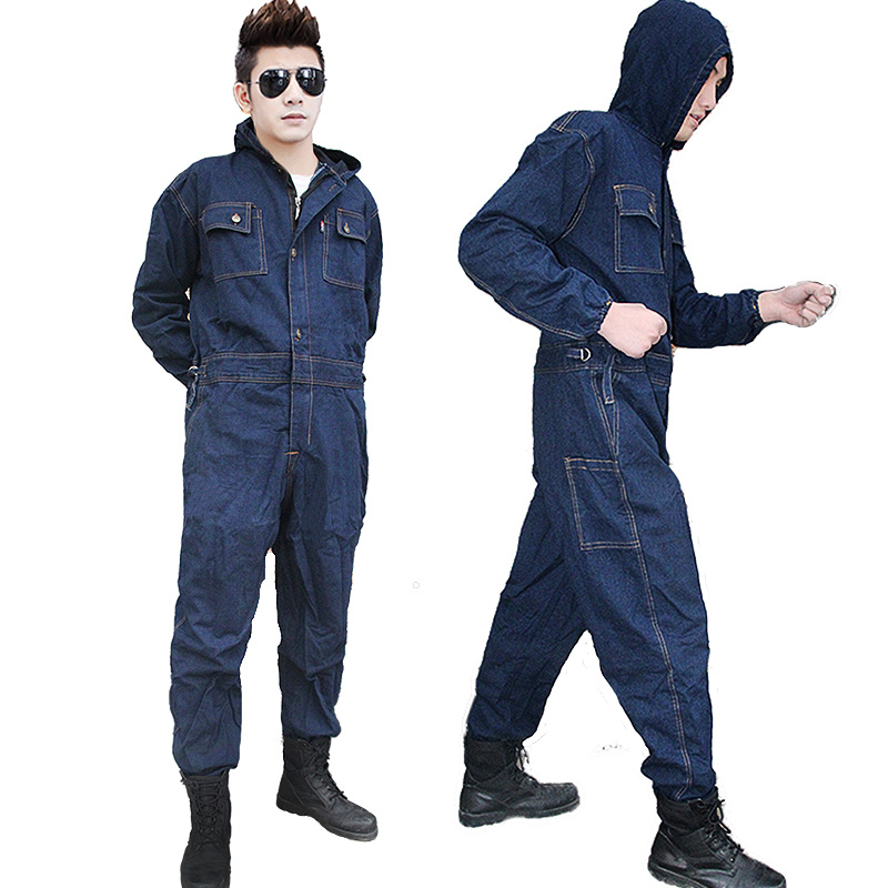ФОТО CCGK Mens Overalls Denim Work Clothing Hooded Coveralls Plus Size Labor Overalls For Worker Machine Welding Auto Repair Painting