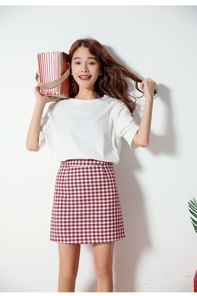 2017 autumn plaid skirts korea fashion preppy style pleated skirt women red plaid skirt school uniform girls short skirt