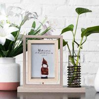 Creative Three Dimensional Rotating Photo Frame Set 5 Inch 6 Inch Ins Nordic Folding Picture Frame Hydroponic Plant Decoration