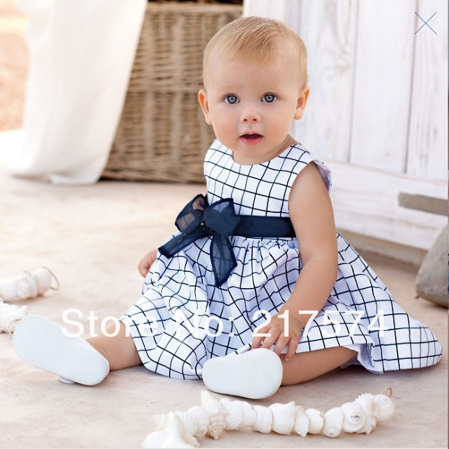 Hot Sale ! New Arrival5pcs/lot Baby Plaid Tank Dress Girls Sweet Bow Sleeveless Cotton Dress Summer Clothing Free Shipping