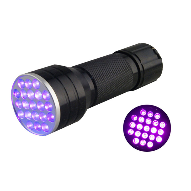 21 LED-lampor Svart Ljus UV-ficklampa 395NM UV-LED Torch Detector för Pet Urin Fläckar, Fluorescens, Falsk Valuta