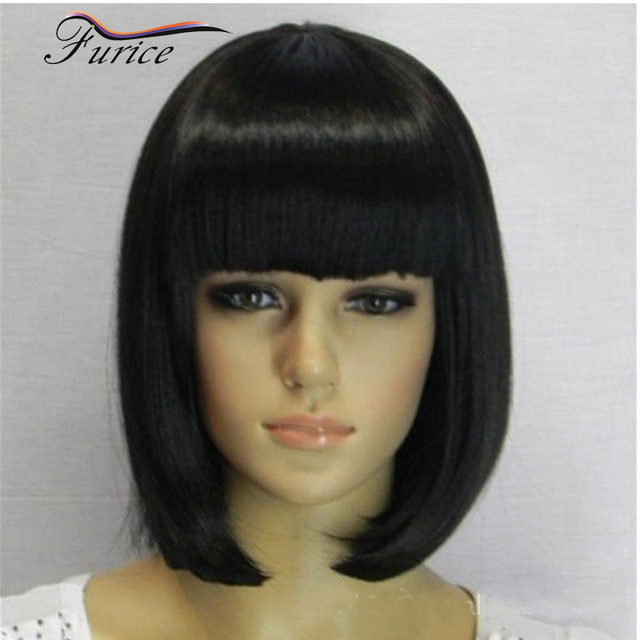 How To Cut Wig Into A Bob Online For Sale Short Bob Wigs With Bangs For  Black Women Party Natural Short Hair Wig Pictures b2c54abd90