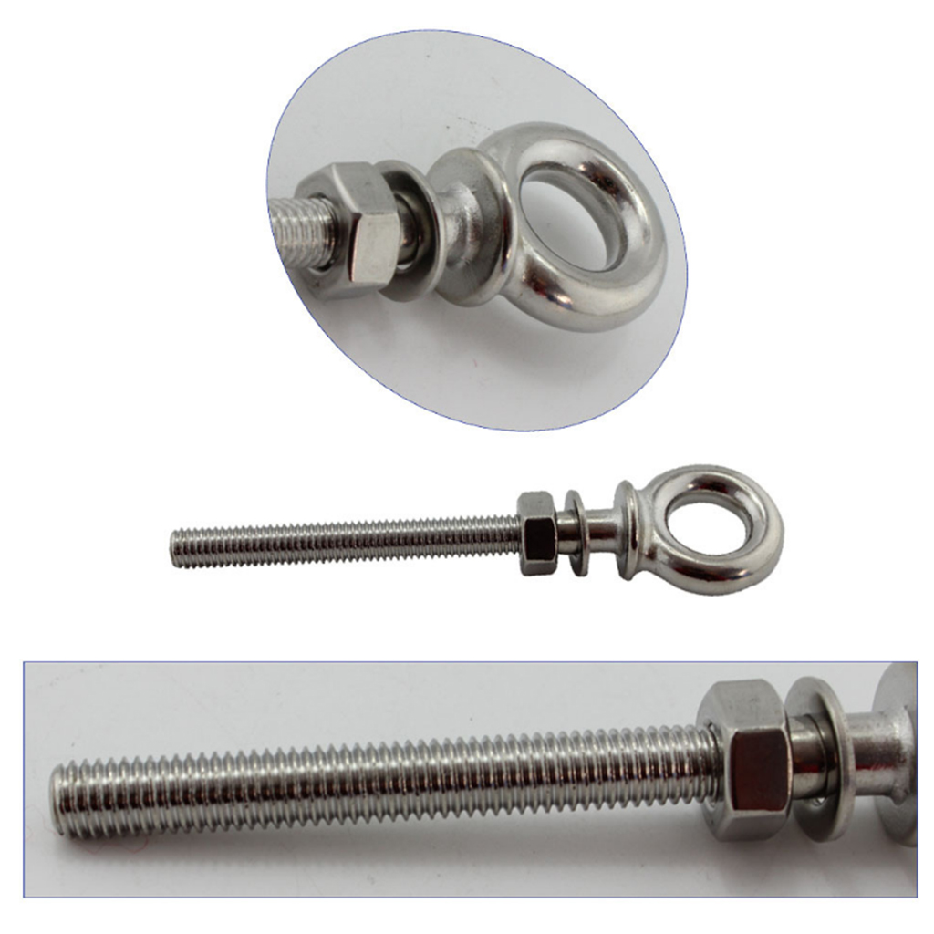 80mm Long Shank Collared Eye Bolt  Marine 316 Grade Stainless Steel Boat Parts Accessories