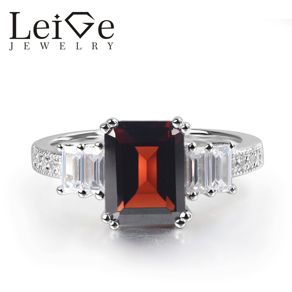Leige Jewelry Natural Garnet Ring Emerald Cut Prong Setting 925 Sterling Silver for Women Engagement Ring Janurary BirthstoneLeige Jewelry Natural Garnet Ring Emerald Cut Prong Setting 925 Sterling Silver for Women Engagement Ring Janurary Birthstone