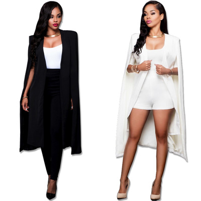 Women Fashion Cape Cardigan Blazer Plus Size Loose Long Cloak Jacket Trench Coat Outerwear Blazers Black And White