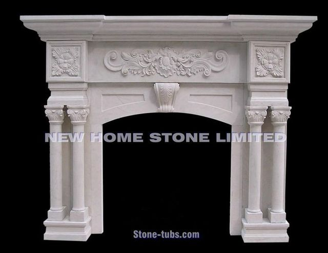 Build A Fireplace Mantel Shelf With Fl And Shell Carvings White Marble 4 Roma Columns Hand Carved French Design