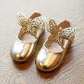 Девушки одеваются shoes leather shoes принцесса Бабочка Одноместный Золото серебро розовый кроссовки Дети девушки Квартиры Милые Дети Dance Shoes