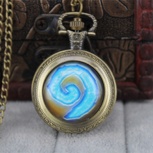 2016 New World of Warcraft Hearthstone Pocket Watch Necklace Glass Cabochon 25 mm Women Men Jewelry
