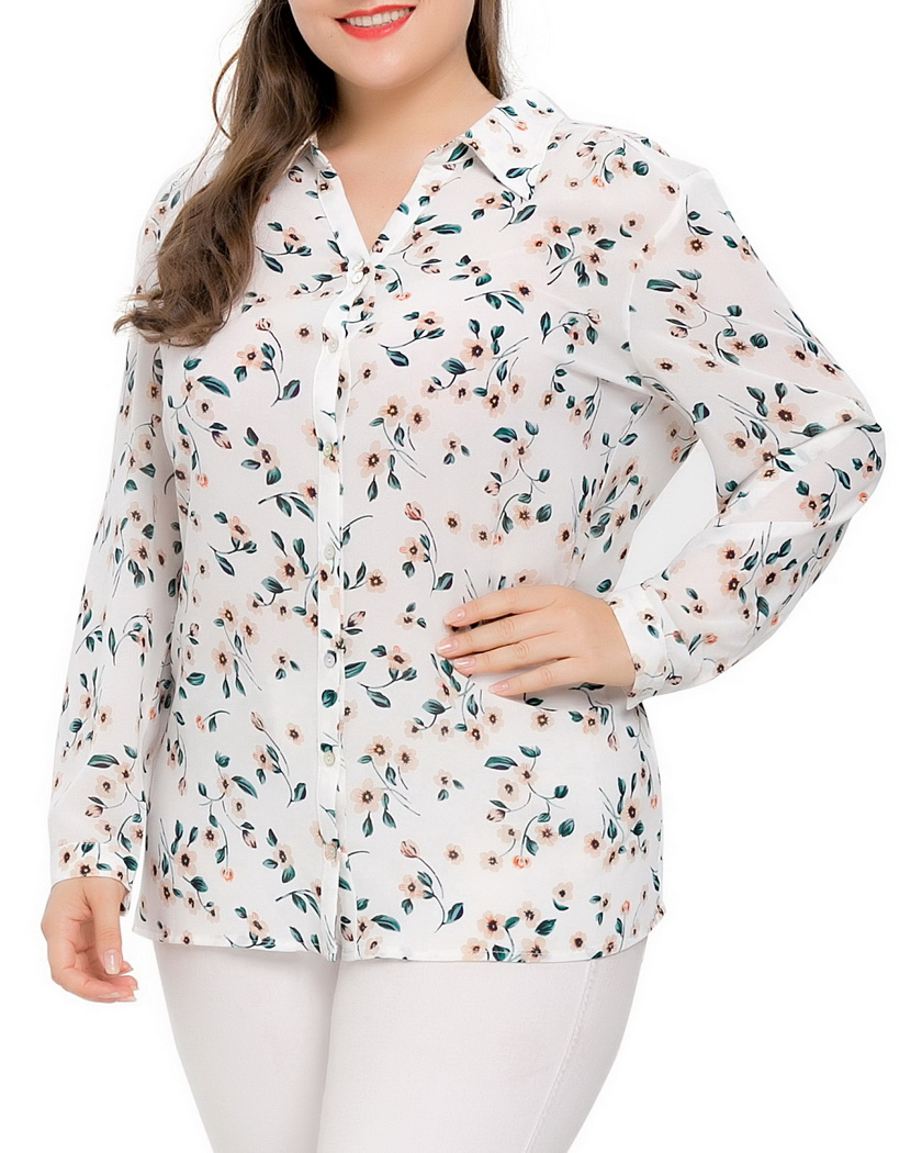 Chicwe Women s Plus Size Chiffon Button Down Blouse Shirt Top V Neck with  Tie Large Size Big Size 1X 4X-in Blouses   Shirts from Women s Clothing on  ... 1ff388ad4997