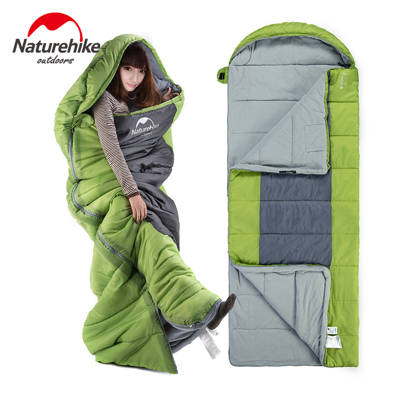 Naturehike Sleeping Bag Cotton Lining Sleeping Bags keep warm Bag NH Waterproof 230 * 90cm 3 Seasons Camping big Sleeping Bag оборудование для мониторинга naturehike natruehike nh